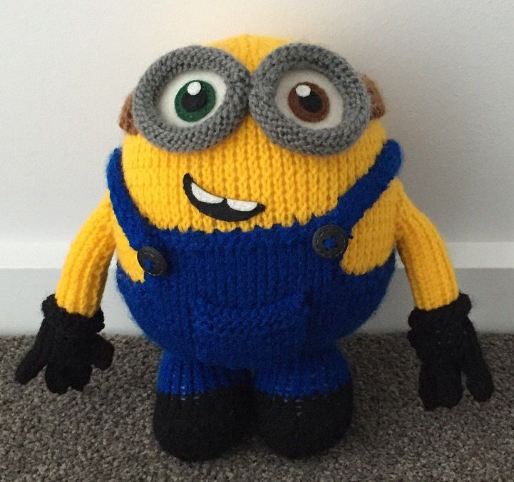 A personal favourite from my Etsy shop https://www.etsy.com/au/listing/255164435/bob-the-minion-knitting-pattern-pdf