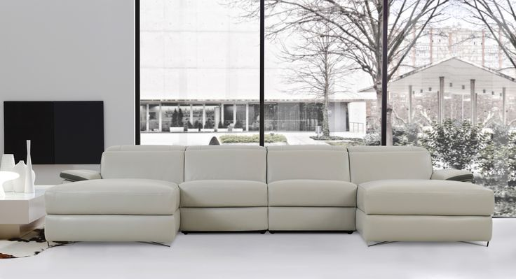 Enjoy sophisticated comfort and style with the Aura Light Grey Top Grain Leather Medium U-Shaped Sectional Sofa by Levoluxe. This designer sectional includes two spacious and plush chaise seats, and offers a modular design for custom configuration.  Adjust each headrest and footrest support and relax in an ambiance of refined modern elegance.