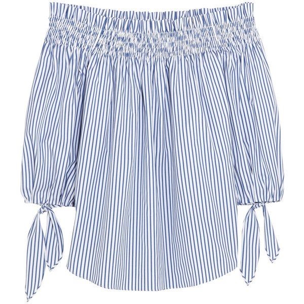 Caroline Constas Lou off-the-shoulder striped cotton top (€435) ❤ liked on Polyvore featuring tops, caroline constas, blue, stripe top, smocked top, off the shoulder tops, smock tops and striped off the shoulder top