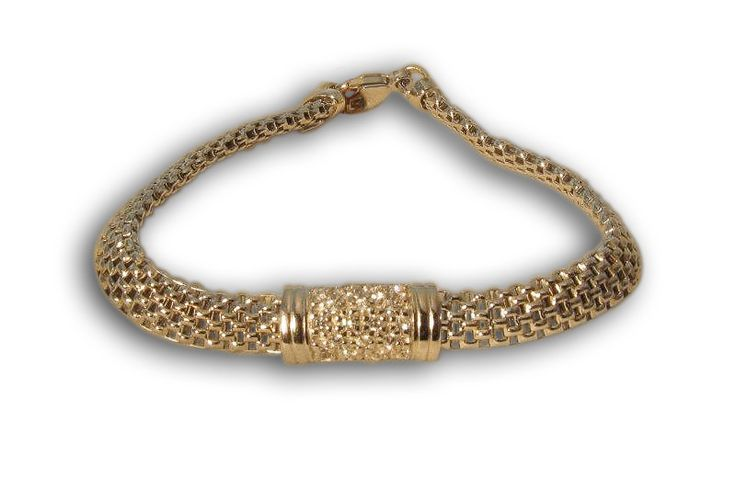 'MILANESE' BRACELET WITH PAVЀ DIAMOND ACCENTS IN 18 KARAT GOLD.