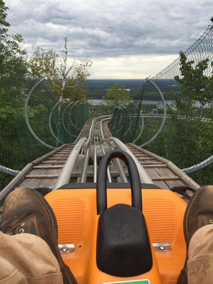 The track winds down the mountain over 3,200 feet. That's over half a mile of speeding through the trees!