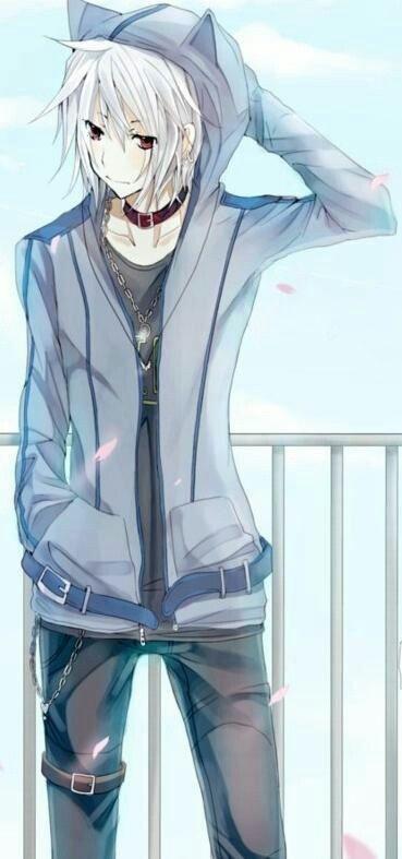 White Haired Anime Guy Wearing a Neko Hoodie