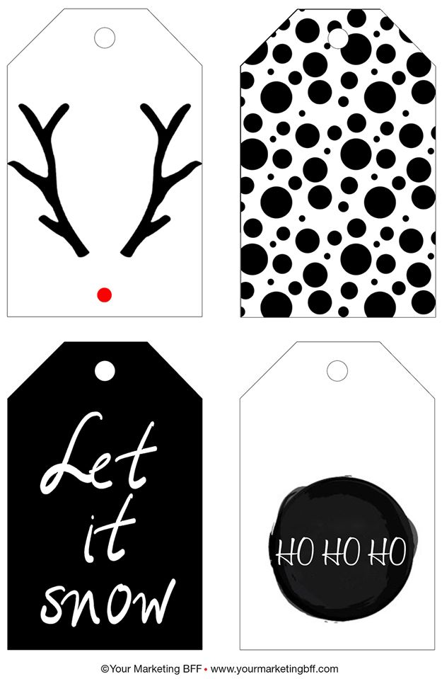 Enjoy this year's free chic holiday gift tag printable. The printable includes a modern black and white reindeer, dots, ho ho ho, and let it snow gift tags!