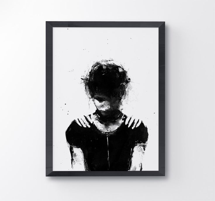 Lover, Black And White Acrylic Painting, Black And White Art, Contemporary Art, Sad Girl, Symbolism Art, Black Art, Hands On Shoulders, Ink by BlackraptorArt on Etsy https://www.etsy.com/listing/247342825/lover-black-and-white-acrylic-painting