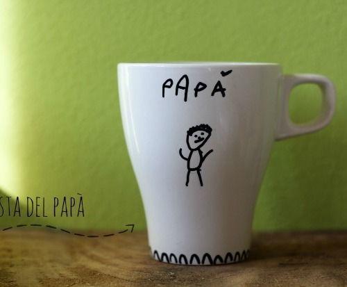 Lavoretti festa del papà: la tazza decorata con i disegni dei bambini