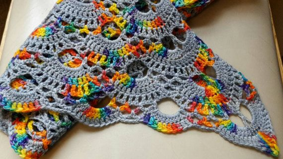 Stunning Rainbow Triangle Scarf by LisasWoollyTreasures on Etsy