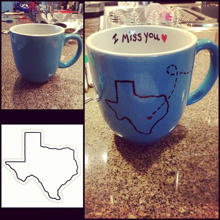DIY State Mug! Perfect for long distance friendships, relationships, and family!