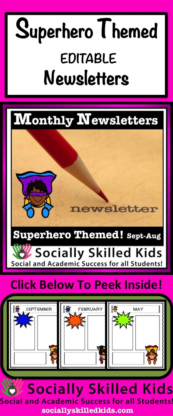 Back To School Newsletters: Editable Superhero Themed Newsletters Make Parent Communication So Much Fun!
