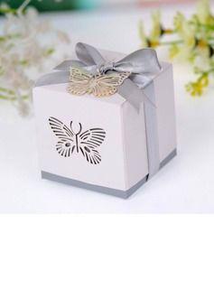 Schmetterling Laser-Cut Quader Geschenkboxen mit Bänder (Satz von 12) (050026813)