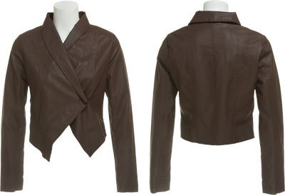 ROMEO & JULIET COUTURE Faux Leather Shawl Collar Jacket [RJ22209] $15.00