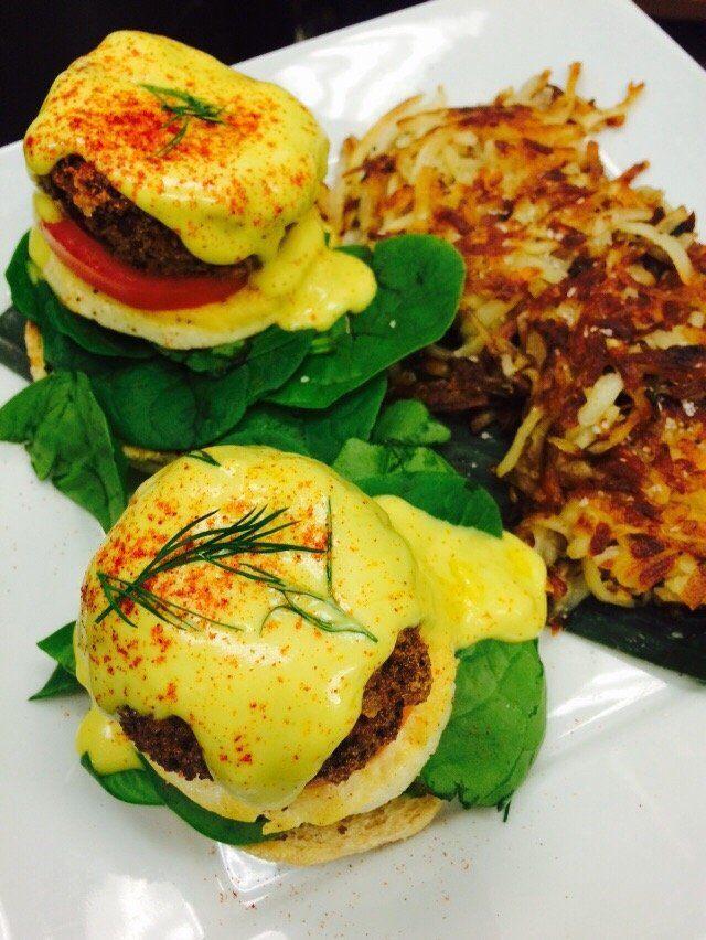 No Bones Beach Club Pdx Portland Or Vegan Brunch Spots Vegan Crab Cake Benedict Vegan Eating Chicken And Waffles Brunch