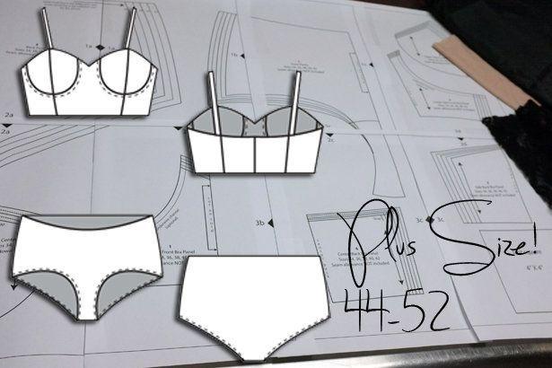 adora este conjunto espero que me quede bien a la primera sobre todo me gusto por que viene en tallas mas grandes y con patrones!!!!!!!!! Bra and Panty Sloper: New Plus Size and Sew Along!