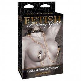 COLLIER ET PINCES POUR MAMELONS FETISH FANTASY GOLD. D'avantage de plaisir pour les mamelons avec les attaches de mamelon élégantes et le collier luxueux. Offert par la boutique érotique (sex shop) La Clé du Plaisir.