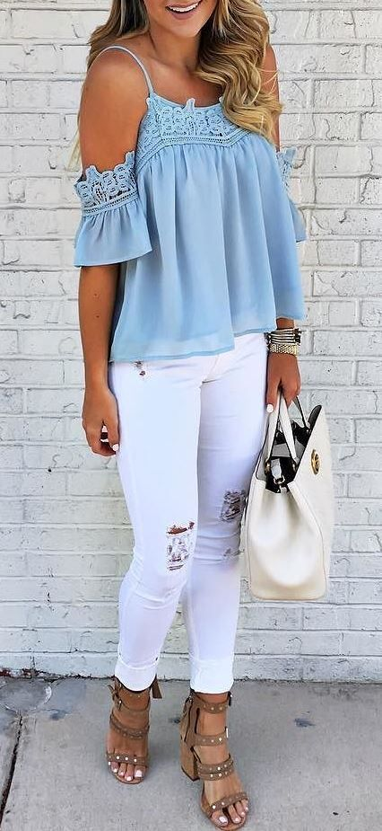 casual style perfection top + bag + ripped jeans + heels