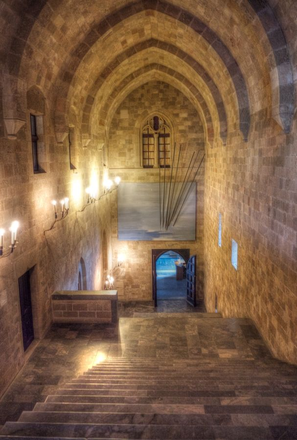 Staircase inside Rhodes Castle, Rhodes, Greece *