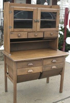 Antique Oak Baker S Cabinet Or Hoosier Style Cupboard With