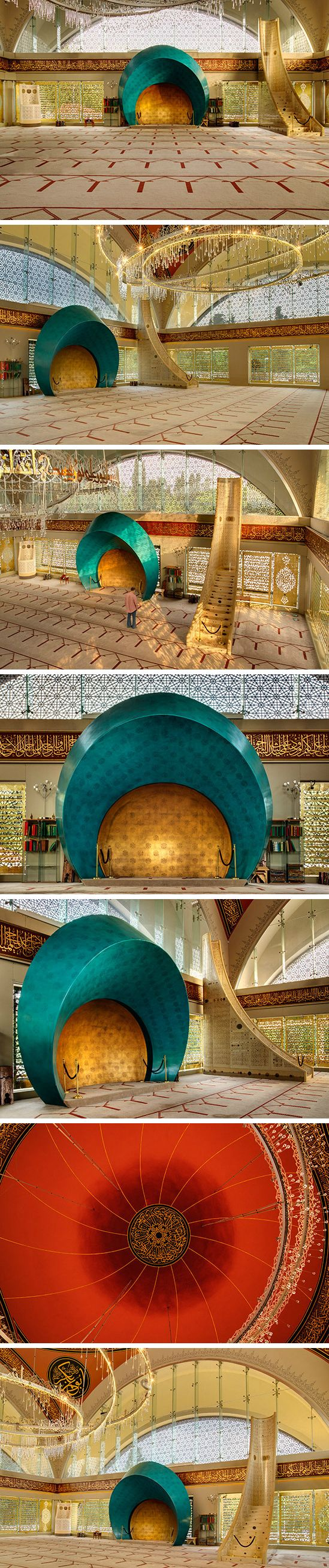The prayer hall of Şakirin Mosque in Istanbul, Turkey. Decorative motifs derived from Seljuk art. Interior designer: Zeynep Fadıllıoğlu
