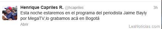 Henrique Capriles estará hoy a las 9:30 pm con Jaime Bayly (+link para verlo en vivo) - http://www.leanoticias.com/2013/05/29/henrique-capriles-estara-hoy-a-las-930-pm-con-jaime-bayly-link-para-verlo-en-vivo/