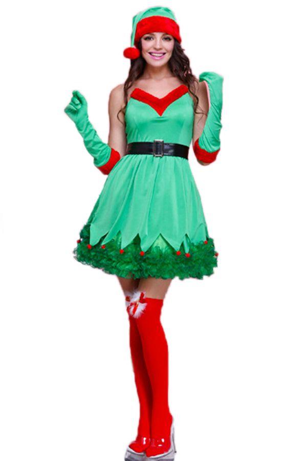 Green Pretty Ladies Elf Christmas Tree Dress Santa Helper Costume pinkqueen.com