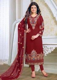 Party Wear Georgette Maroon Embroidery Border Work Salwar Kameez