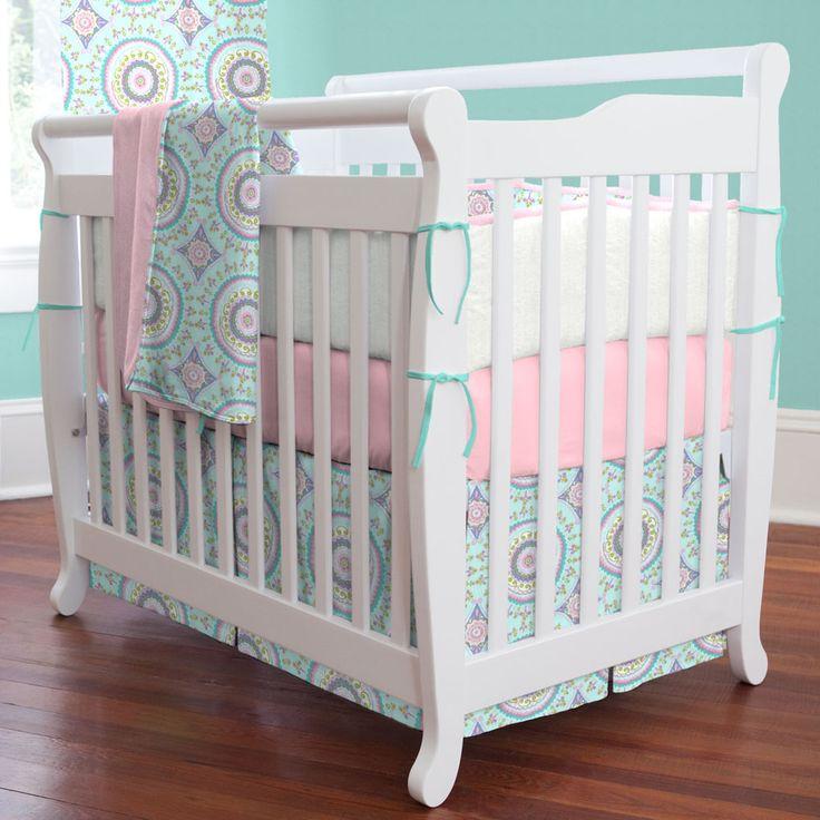 Aqua Haute Baby Mini Crib Bedding by Carousel Designs.