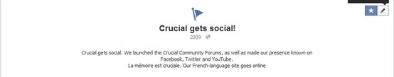 Crucial gets social. We launched the Crucial Community Forums http://forum.crucial.com/, as well as made our presence known on Facebook www.facebook.com/CrucialMemory, Twitter https://twitter.com/CrucialMemory and YouTube www.youtube.com/CrucialMemory. La mémoire est cruciale. Our French-language site goes online http://www.facebook.com/CrucialFrance