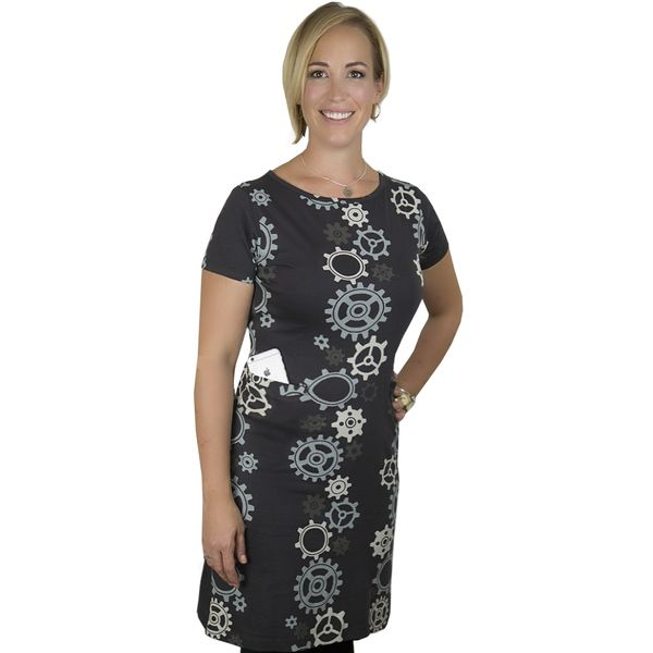 Engineering-inspired organic cotton, black, short-sleeve, sheath dress with a grey, vertical gear train stripes pattern. Available in Women's size 2-4X.