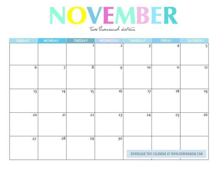 The 25+ best November 2016 calendar printable ideas on Pinterest - office template calendar
