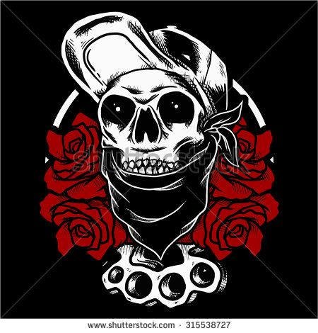 vector illustration skull wearing hat  with roses - stock vector
