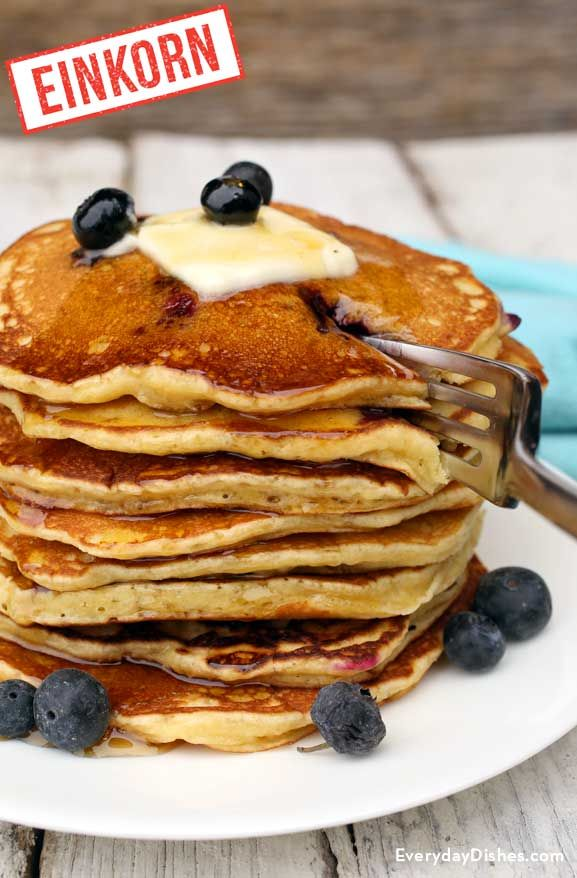 Overnight einkorn blueberry pancakes recipe.  Might try this with coconut flour and add a bit more liquid.