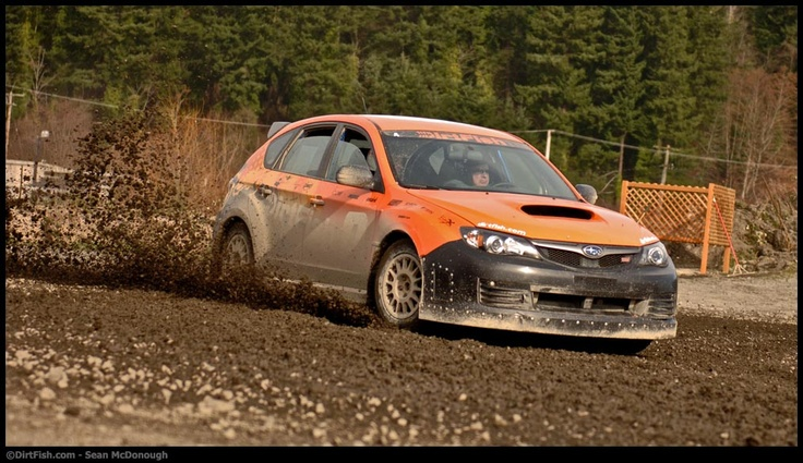 Hitting the corner hard in a Subaru Rally Car @ DirtFish Rally School
