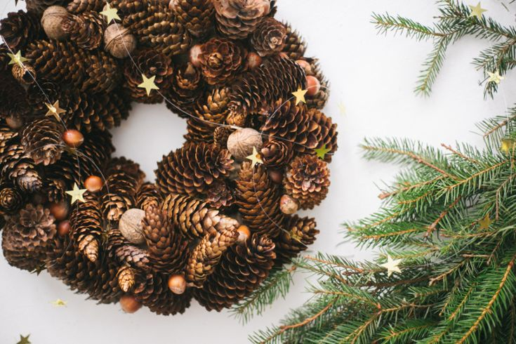 DIY Christmas Cone Wreath // Simple + Beyond