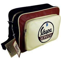 Original VESPA - SERVIZIO Umhängetasche Retro Tasche SCHWARZ ROT CREME - QUER: Amazon.de: Sport & Freizeit