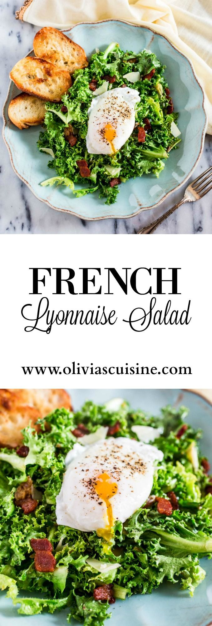 Lyonnaise Salad | http://www.oliviascuisine.com | This classic French salad, from Lyon, is made with frisée lettuce, bacon, a delicious shallot mustard vinaigrette and a poached egg.
