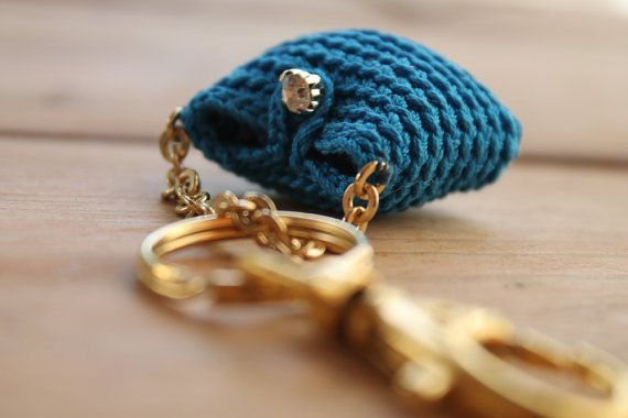 Key holderCrochet purse keychainBlue Ocean purse by LiveFashion