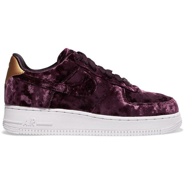 Nike Air Force 1 metallic faux leather-trimmed crushed-velvet sneakers  ($105)