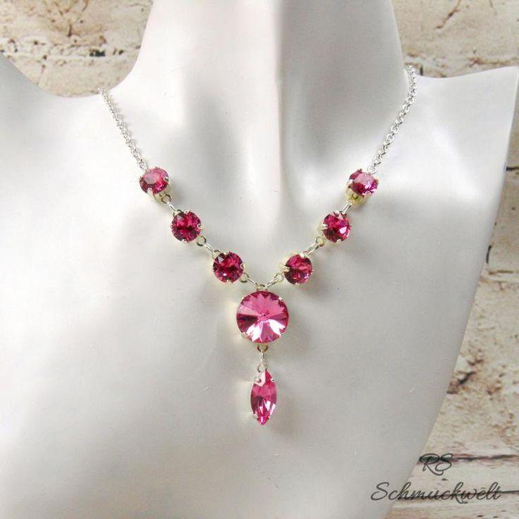 Y Halskette pink Hochzeit Kristall Kette Brauthalskette weiss Abendschmuck romantisch Kristallkette Geschenk Hochzeit Valentinstag Muttertag von RSSchmuckwelt auf Etsy