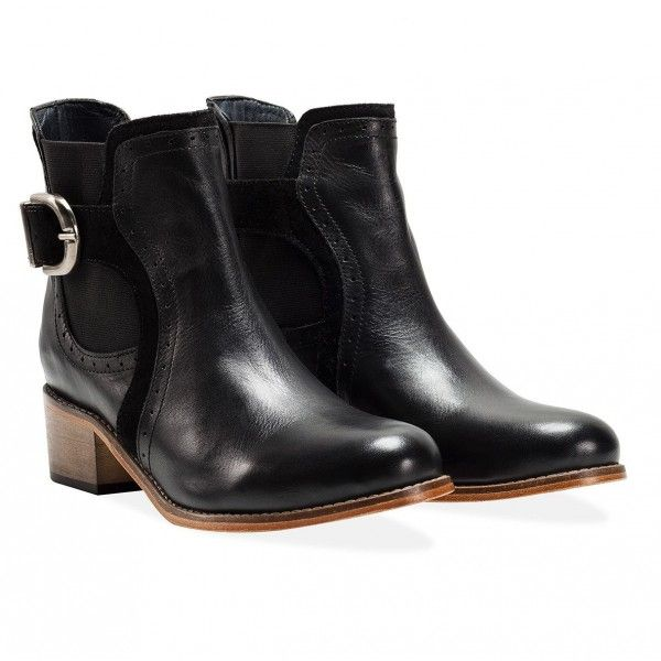 Goodwin Smith Vale Black Heeled Chelsea Boots Reworking a classic 1960's boot. Vale is the ladies block heeled Chelsea boot with a feature single buckle and elastic fastening.  A combination of high quality leather and suede highlight with each boot lovingly hand burnished to create a rich and unique coloration, £100 Order yours > http://www.kindredsole.com/designers/goodwin-smith-shoes/goodwin-smith-vale-black-heeled-chelsea-boots.html