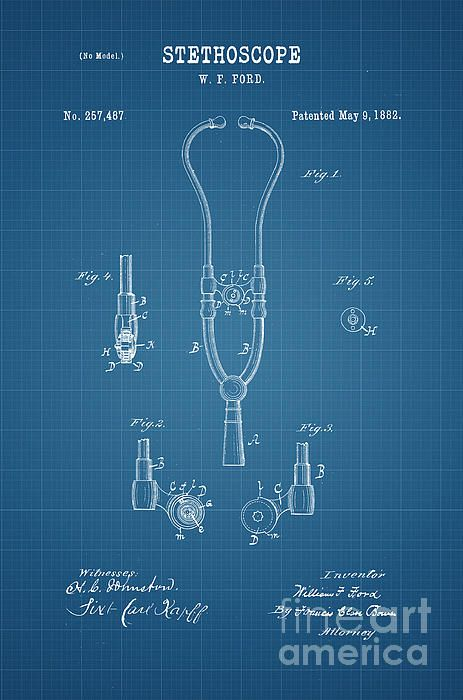 Mejores 194 imgenes de patent and blueprint fine art prints en 1882 stethoscope patent art in white on blue graph paper background patent awarded to william malvernweather Choice Image