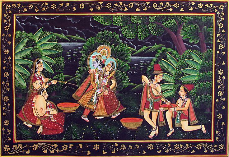 Radha Krishna Enjoying the Festival of Holi (Miniature Painting on Silk Cloth - Unframed))