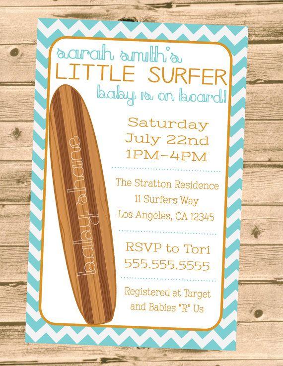 Chevron Surf Theme Baby on Board Baby Shower Invitation- Printable/Digital File