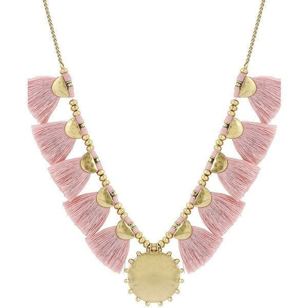 Lucky Brand Fringe Goldtone Statement Necklace ($59) ❤ liked on Polyvore featuring jewelry, necklaces, pink, statement bib necklace, gold tone jewelry, fringe necklace, pink jewelry and pink statement necklace