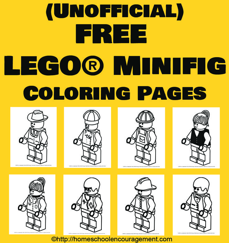 8 awesome LEGO minifigs pose for coloring in high res black and white to make your LEGO fans happy! #lego coloring pages are free.
