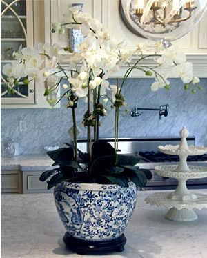 Orchids, blue & white + white marble kitchen