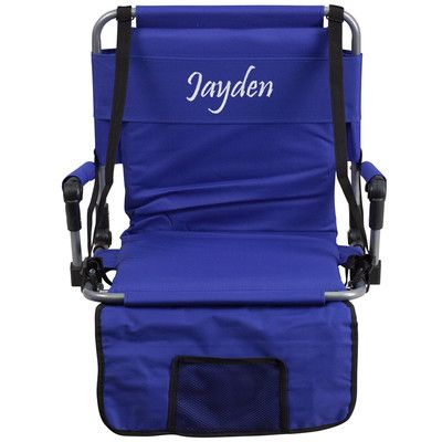 Flash Furniture Folding Stadium Chair Chair Color: Blue, Thread Color: Floral Pink