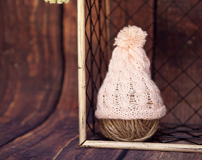 newborn- baby girl crochet pink hat - newborn knit photography props -knit newborn hat-newborn photography