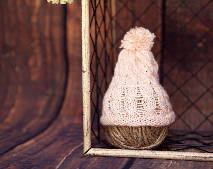 newborn- baby girl crochet pink hat - newborn knit photography props -knit newborn hat-newborn photography