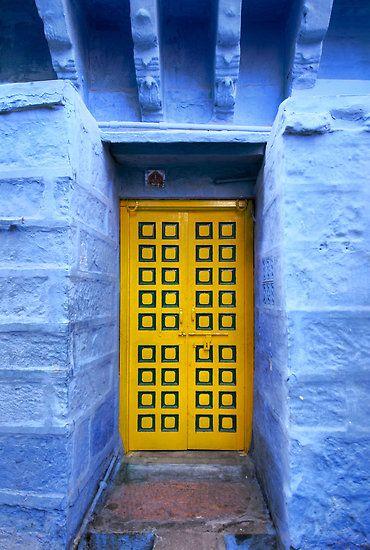 yellow doorThe Doors, Doorway, Doors Design, Blue Wall, Vibrant Colors, Beautiful Doors, Blue Yellow, Gates, Yellow Doors