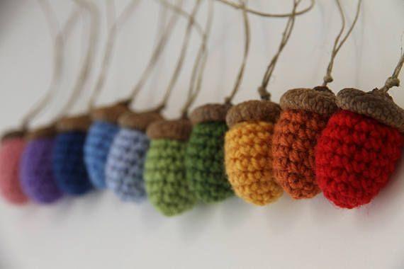 RAINBOW ACORNS  set of 10 fall autumn home decor crochet
