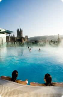 Bath, England : The Thermae Bath Spa taps into the same thermal springs that once soothed Roman conquerors in 43 A.D. From the naturally heated rooftop pool on the spa's New Royal Bath building, visitors can take in a panorama that includes the ornate towers of 17th-century Bath Abbey in the center of town.